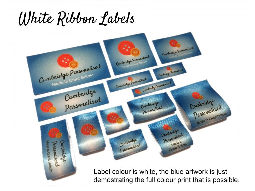 47*15mm Large White Iron On Personalised Name Clothing Labels Warm Wash