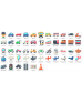 Cars, Planes, Trains & Motorcycle Motifs Collection Name Labels