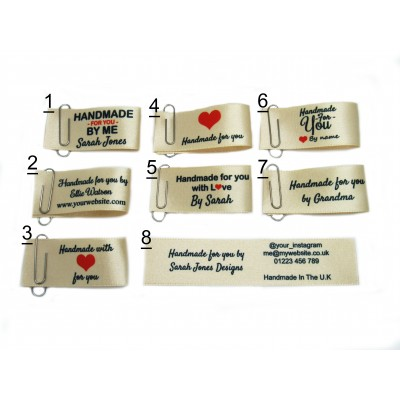 25x50mm (FOLD) Cream Handmade for you labels