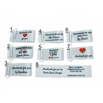 25x50mm (FOLD) White Handmade for you labels