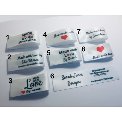 25x50mm Bridal White Made and Handmade with love labels