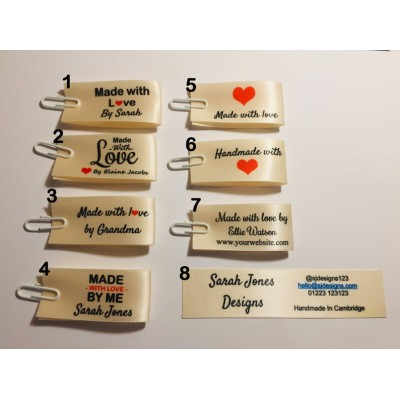 25x50mm Cream Made and Handmade with love labels