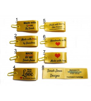 25x50mm (FOLD) Gold Made and Handmade with love labels