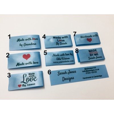 25x50mm Light Blue Made and Handmade with love labels