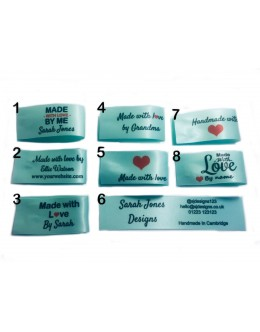 25x50mm (FOLD) Mint Green Made and Handmade with love labels