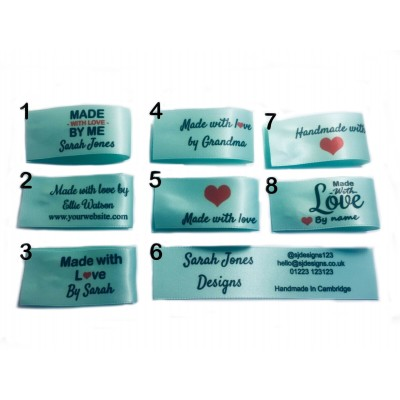 25x50mm Mint Green Made and Handmade with love labels