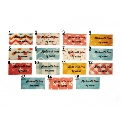 25x40 (FLAT)  Made with love by name full colour (15 scrapbook pattern designs)
