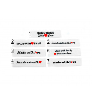 10x50mm (FLAT) 30 Pack White Made and Handmade with love labels
