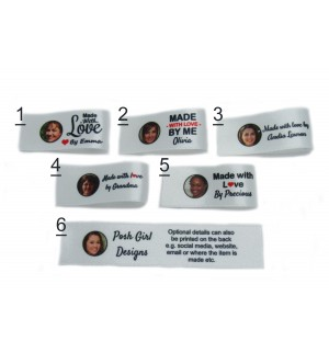25x50mm (FOLD) White Photo Made and Handmade with love labels