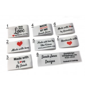 25x50mm (FOLD) White Made and Handmade with love labels