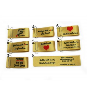 25x50mm (FOLD) Gold Knitted with love labels