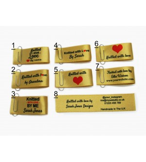 25x50mm Gold Knitted with love labels