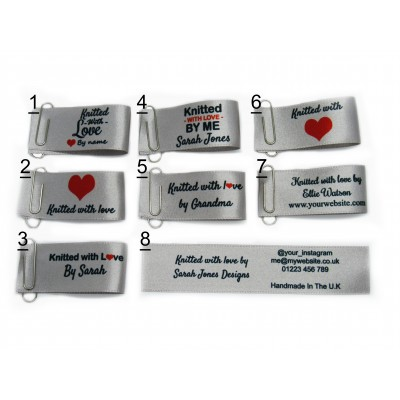 25x50mm (FOLD) Silver Knitted with love labels