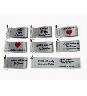 25x50mm Silver Knitted with love labels