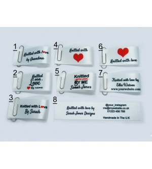 25x50mm White Knitted with love labels