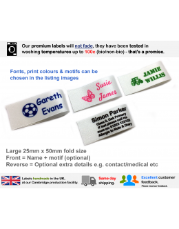 25mm White Name Labels (16, 32 or 48 Pack)