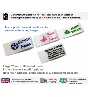 25mm White Name Labels (16, 24, 32 or 48 Pack)
